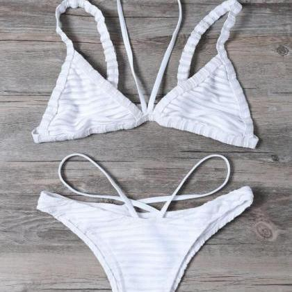 Sexy pure white stripe halter botto..