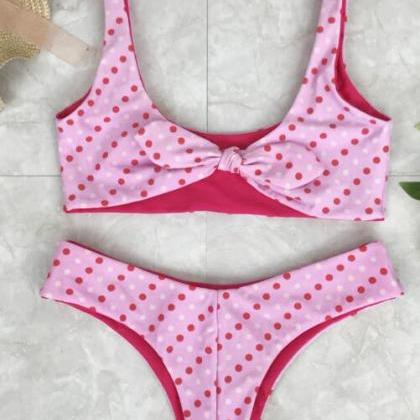 Sexy cute pink dots print vest type..