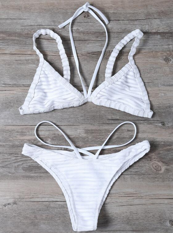 Sexy pure white stripe halter bottom side open two piece bikini