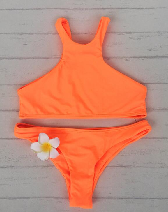 New solid color orange high neck two piece bikini pure