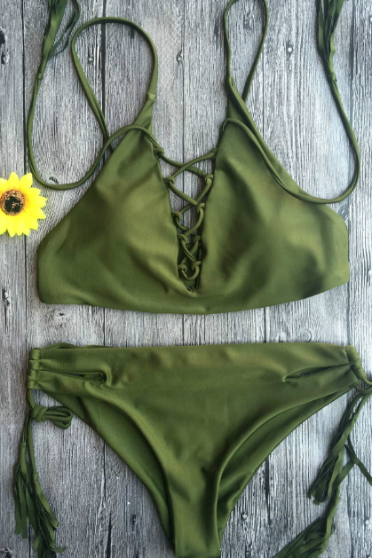 Hoe sale pure army green tassel chest cross knot two piece bikini