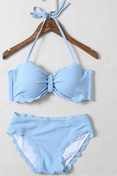 Fashion halter knot scalloped bow two piece bikini