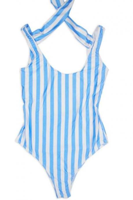Sexy hot sale white blue Vertical stripes one piece bikini back knot show thin vest