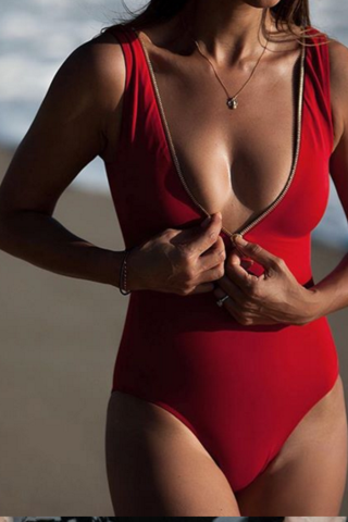 HOT RED ONE PIECE DEEP V ZIPPER BIKINI vest type SWIMWEAR BATH SUIT