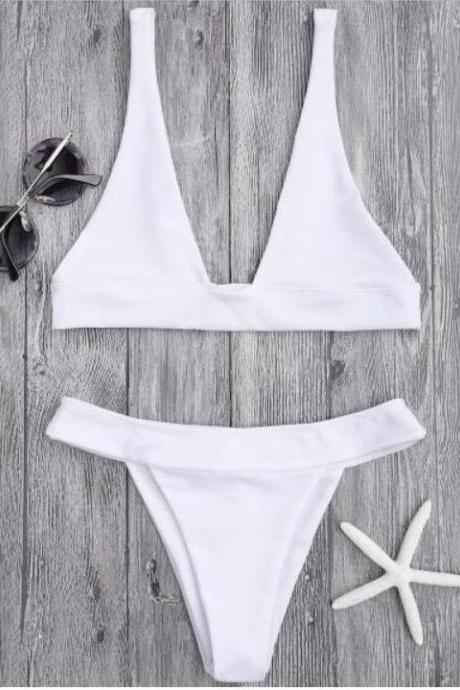 Sexy fashion women pure color v neck two piece bikini hot sale white