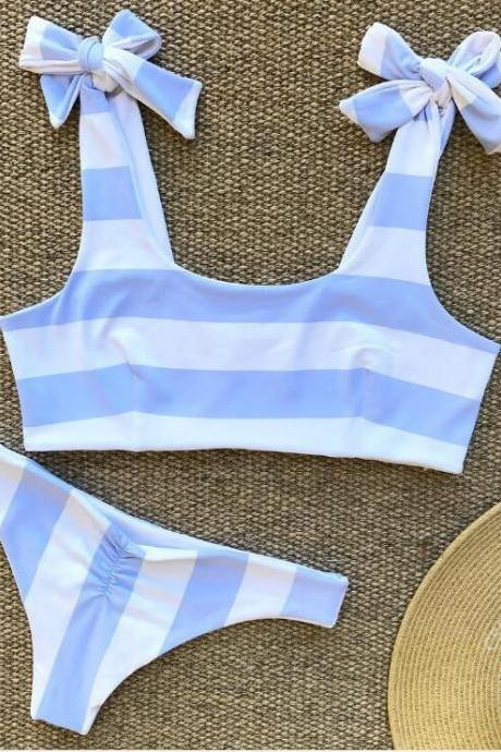Sexy new arrival blue white stripe print shoulder knot two piece bikini
