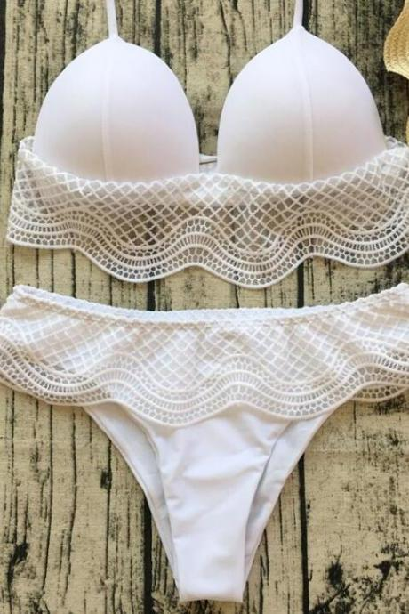 Sexy new arrival two piece bikini pure white edge lace sexy swimsuit