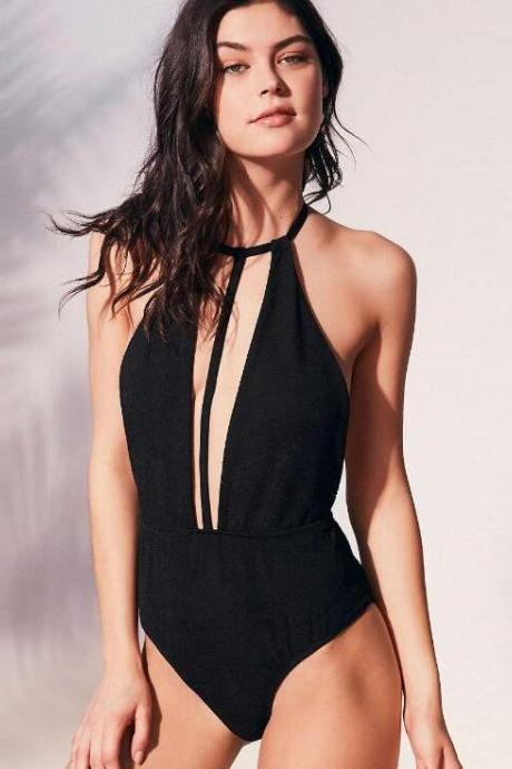 Sexy pure black deep V neck halter backless one piece bikini