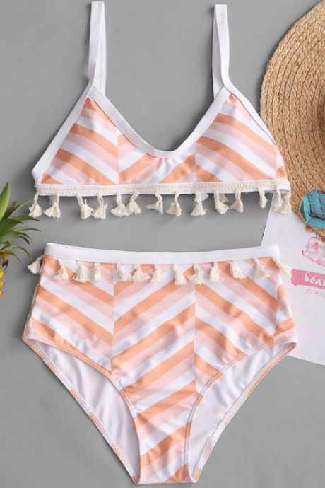 Striped print bikini knitted fringed women's high waist split bathing suit