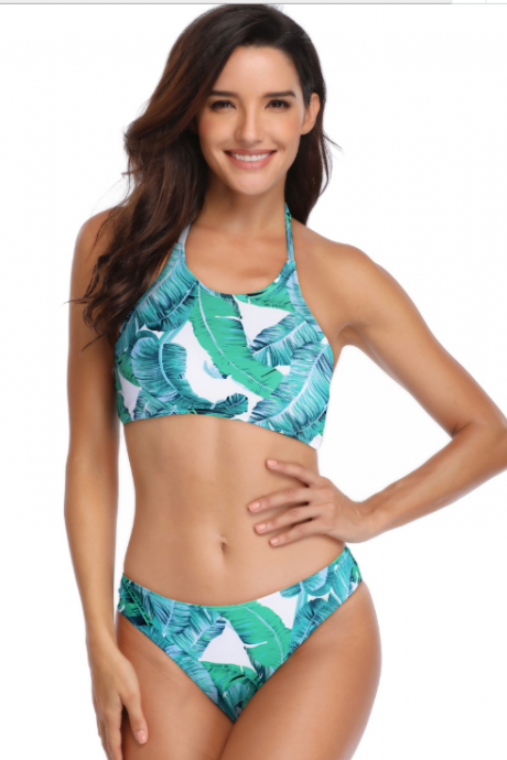 Sexy split swimsuit with leaf print