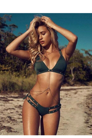 Sexy fashion bikini army green two piece bikini bottom open