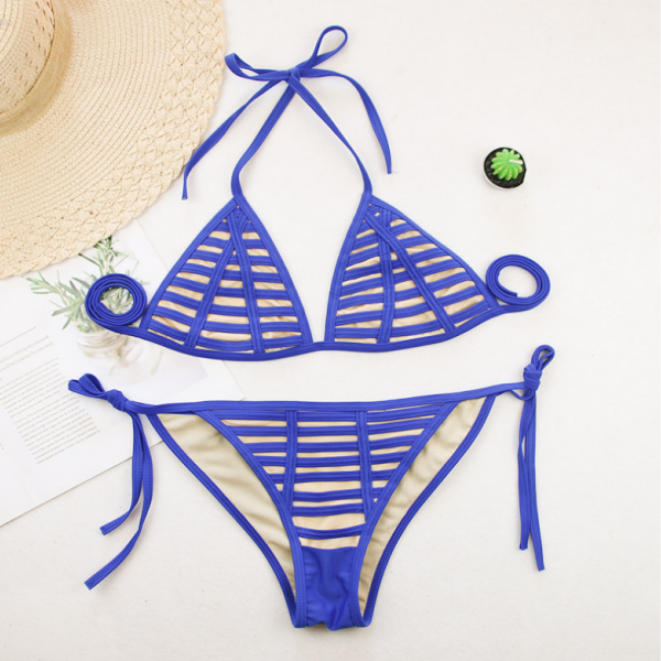 Hot style striped patchwork swimsuit lady