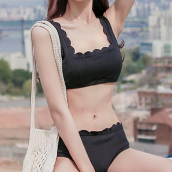 Cute sexy black scalloped two piece vest bikini
